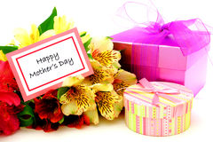 Happy Mother's Day. Happy Mothers Day Card with colorful flowers and gift boxes Stock Image