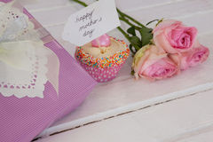 Happy mothers day card with cup cake and gift box Royalty Free Stock Photo