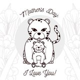 Happy mothers day card with cute animals Royalty Free Stock Photography