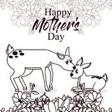 Happy mothers day card with cute animals Stock Photo