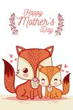 Happy mothers day card with cute animals cartoons royalty free illustration