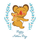 Happy Mothers day card with cute koalas mom and Stock Image