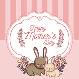 Happy mothers day card with cute rabbits cartoons. Vector illustration graphic design Royalty Free Stock Images