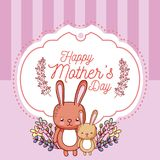 Happy mothers day card with cute rabbits cartoons. Vector illustration graphic design Stock Photo