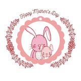 Happy mothers day card with cute rabbits cartoons. Vector illustration graphic design Stock Image