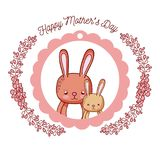Happy mothers day card with cute rabbits cartoons. Vector illustration graphic design Stock Photos