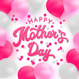 Happy Mothers Day card with 3d letters and balloon Stock Photos