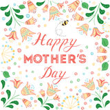 Happy Mothers Day card decorated beautiful hand drawn flowers. vector illustration