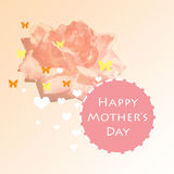 Happy mothers day card design with butterfly and heart shapes. Soft pink background with big rose and circle greeting Stock Images
