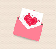 Happy mothers day card with envelope heart Stock Image