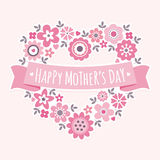 Happy mothers day card floral heart pink Stock Photo
