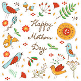 Happy Mothers Day card with flowers and birds Stock Photo