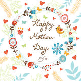 Happy Mothers Day card with flowers and birds Stock Image