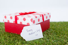 Happy mothers day card on gift box Royalty Free Stock Photo