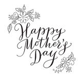 Happy mothers day card with hand drawn text and flowers Royalty Free Stock Photo