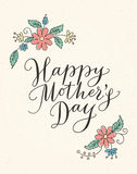 Happy mothers day card with hand drawn text and flowers Royalty Free Stock Photography