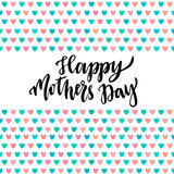 Happy Mothers Day card. Hand lettering Vector printable poster with cute hearts Stock Photo