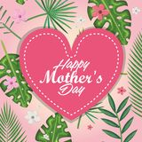 Happy mothers day card with heart and floral decoration. Vector illustration design Stock Image