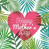 Happy mothers day card with heart and floral decoration. Vector illustration design Stock Photos