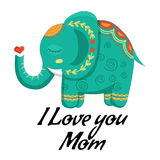 Happy mothers day card with lovely cute pattern Elephant. Vector illustration in cartoon style. Stock Photos