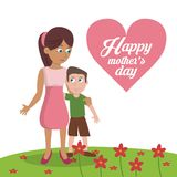 Happy mothers day card - mom with son garden flowers stock illustration