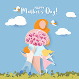 Happy mothers day card. Paper cut style. Royalty Free Stock Images