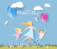 Happy mothers day card. Paper cut style. Stock Photos