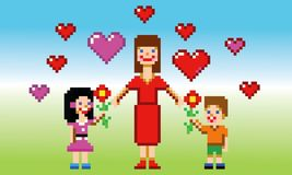 Happy mothers day card pixel art style vector. Illustration stock illustration