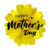Happy Mothers Day card with realistic 3d flower. Vector illustration with Happy Mothers Day lettering Stock Images