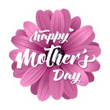 Happy Mothers Day card with realistic 3d flower. Vector illustration with Happy Mothers Day lettering Stock Photo