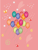 Happy Mothers Day card with red colorful balloons Royalty Free Stock Photos