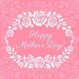 Happy Mothers Day. Card with roses wreath vector illustration