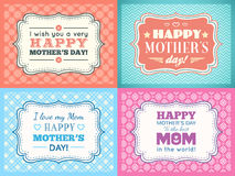 Happy Mothers day card set. Typography letter font Royalty Free Stock Images