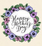 Happy mothers day card with text and frame of vintage botanical. Flowers. Hand drawn calligraphy and illustration of violet, pansy bouquets. Vector floral Stock Photo