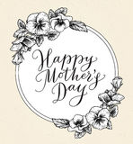 Happy mothers day card with text and frame of vintage botanical. Flowers. Hand drawn calligraphy and illustration of violet, pansy bouquets. Vector floral Stock Photos