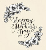 Happy mothers day card with text and frame of vintage botanical Royalty Free Stock Photo