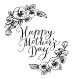Happy mothers day card with text and frame of vintage botanical Royalty Free Stock Images