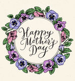 Happy mothers day card with text and frame of vintage botanical Stock Image