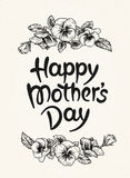 Happy mothers day card with text and frame of vintage botanical Stock Photo
