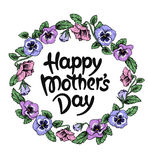 Happy mothers day card with text and frame of vintage botanical Stock Photos