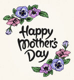Happy mothers day card with text and frame of vintage botanical Royalty Free Stock Image