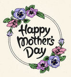Happy mothers day card with text and frame of vintage botanical Royalty Free Stock Photography