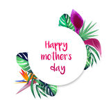 Happy mothers day card with tropical flowers Royalty Free Stock Photography