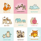 Happy Mothers Day Cards. With cute animals - in vector illustration