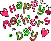 Happy Mothers Day Cartoon Doodle Text Stock Photo