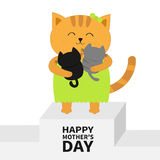 Happy Mothers day. Cat hugging baby kitten. Kittens on hands. Winner stand First place podium pedistal. Kitty hug. Animal family. Cute cartoon pet character Stock Photo