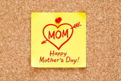 Happy Mothers Day Concept Sticky Note. Happy Mother's Day concept on a sticky note pinned on cork bulletin board stock images