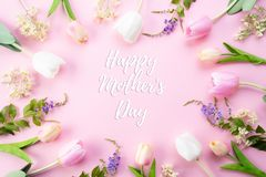 Happy mothers day concept. Top view of pink tulip flowers in frame with happy mothers day text on pink pastel background. Flat lay stock photo