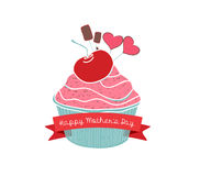 Happy mothers day with cupcake Stock Photography
