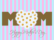 Happy Mothers Day with Daisy Flowers Heart Royalty Free Stock Photos